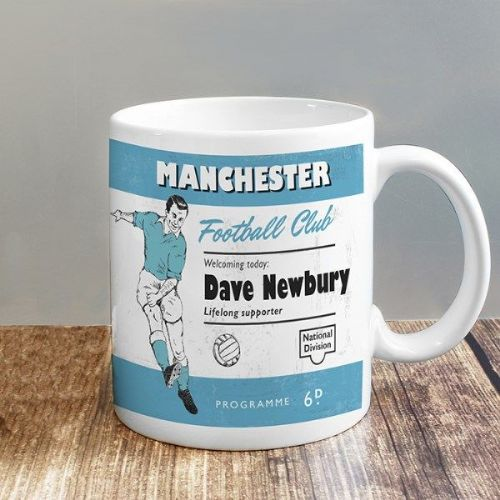 Vintage Sky Blue and White Football Supporter's Mug